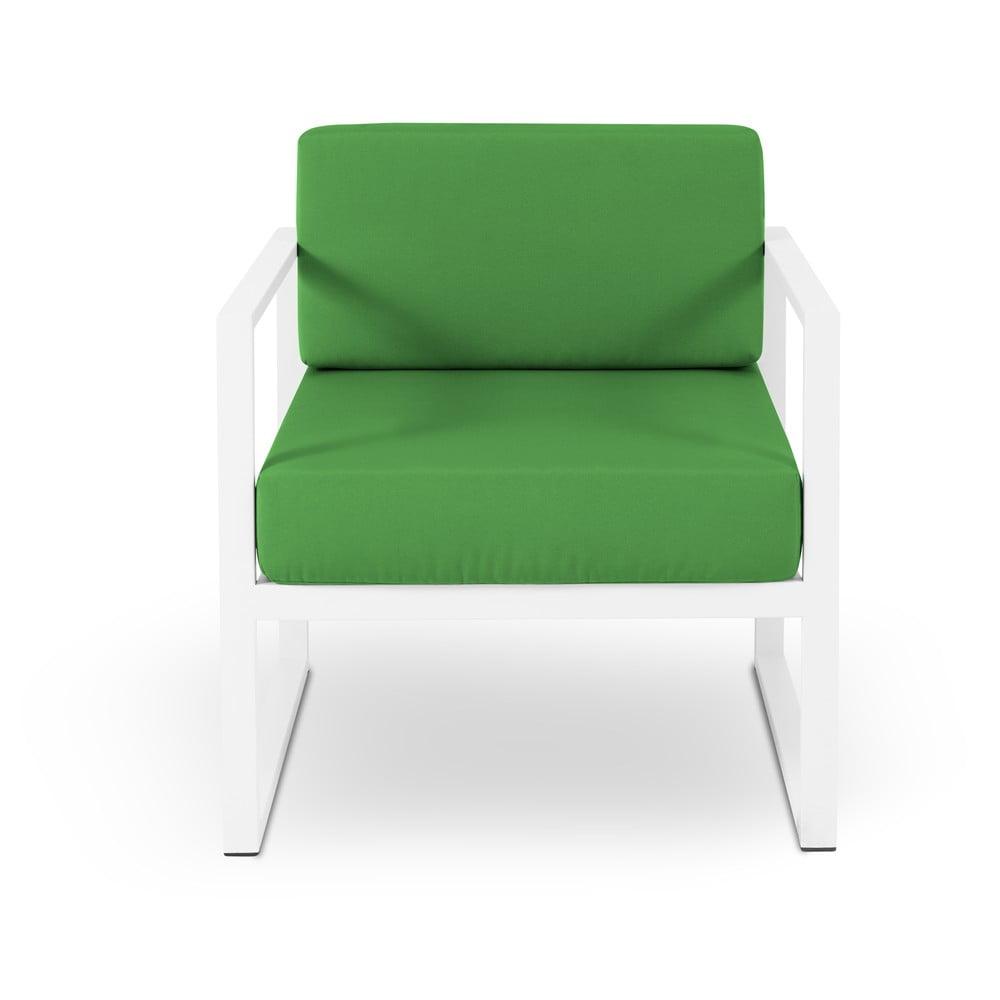 Zielony fotel ogrodowy w białej ramie Calme Jardin Nicea