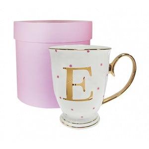 Kubek z literką E w groszki w kolorze fuksji