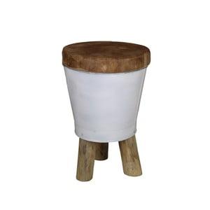 Stołek z siedziskiem z drewna tekowego HSM collection Bucket, wys.30cm