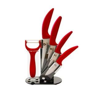 5-częściowy zestaw noży w stojaku Ceramic, czerwony