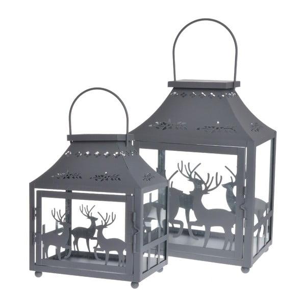 Zestaw 2 lampionów Reindeers Grey