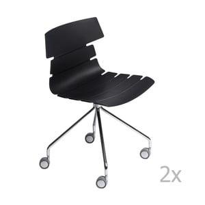 Zestaw 2 czarnych krzeseł D2 Techno Roll