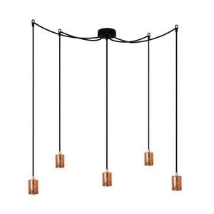 Czarna pięcioramienna lampa wisząca z miedzianą oprawką Bulb Attack Cero