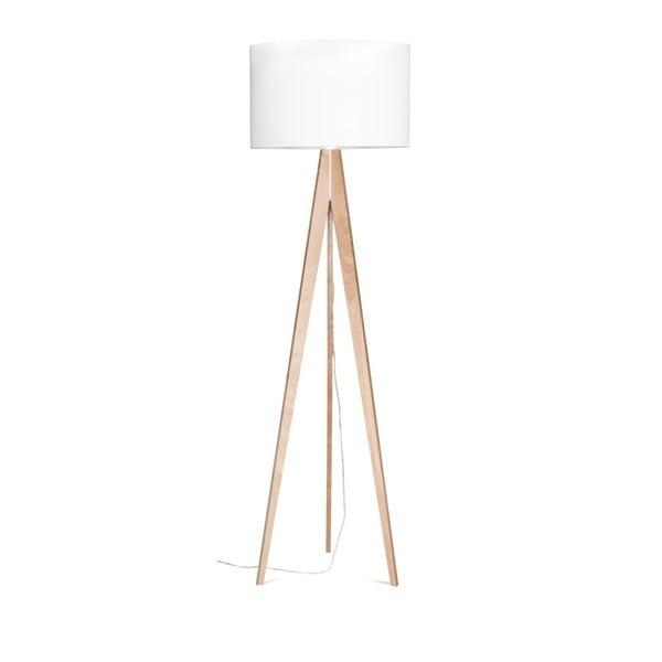 Biała lampa stojąca Artista, brzoza, 150 cm