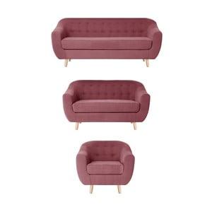 Czerwonoróżowy zestaw fotela i 2 sof dwuosobowej i trzyosobowej Jalouse Maison Vicky