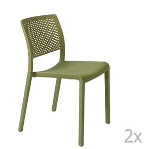 Zestaw 2 zielonych krzeseł ogrodowych Resol Trama