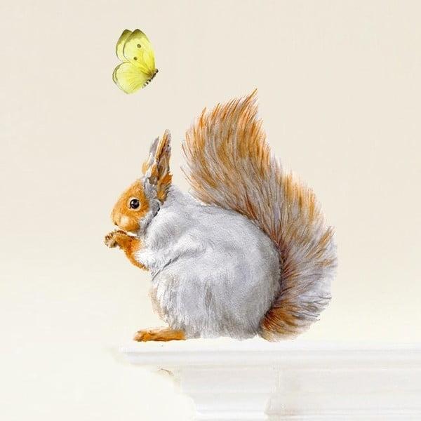 Naklejka wielokrotnego użytku Grey Squirrel, 32x30 cm