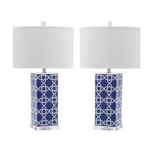 Zestaw 2 lamp stołowych z niebieską podstawą Safavieh Reagan