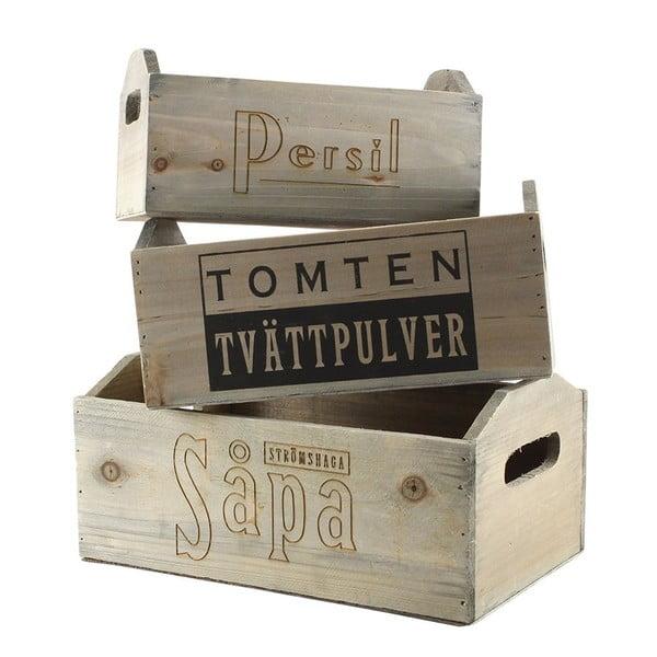 Komplet 3 skrzynek drewnianych Tomten