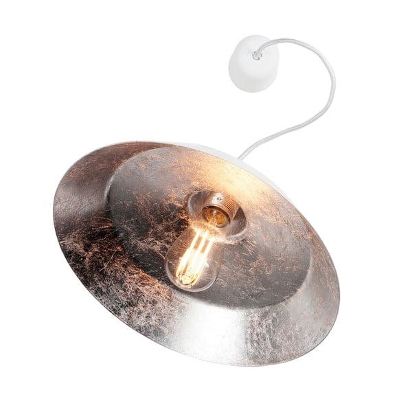 Biała lampa wisząca z wnętrzem w kolorze srebra Bulb Attack Cinco