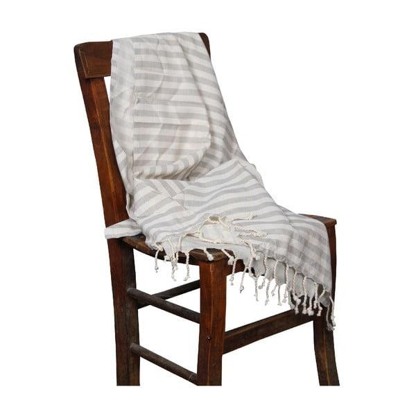 Ręcznik kąpielowy hammam Akasya Grey Red, 90x190 cm