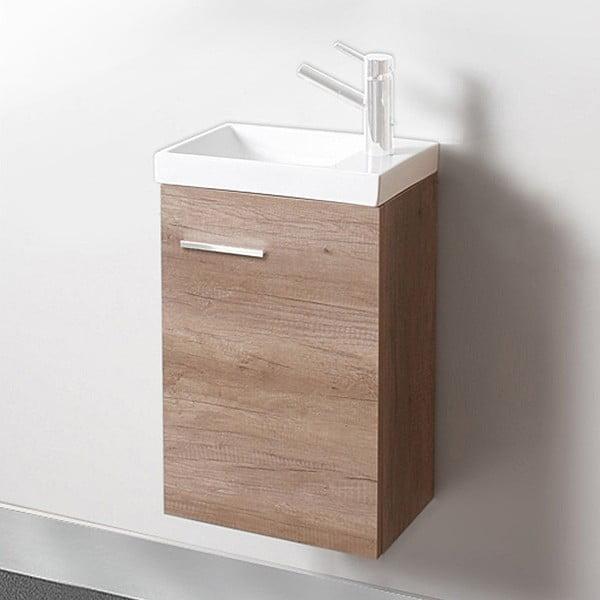 Szafka do łazienki z umywalką i lustrem Kai, motyw dębu, 40 cm