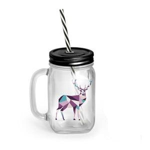 Szklanka/słoik z pokrywką i słomką Vialli Design Mia Natura Deer, 450 ml
