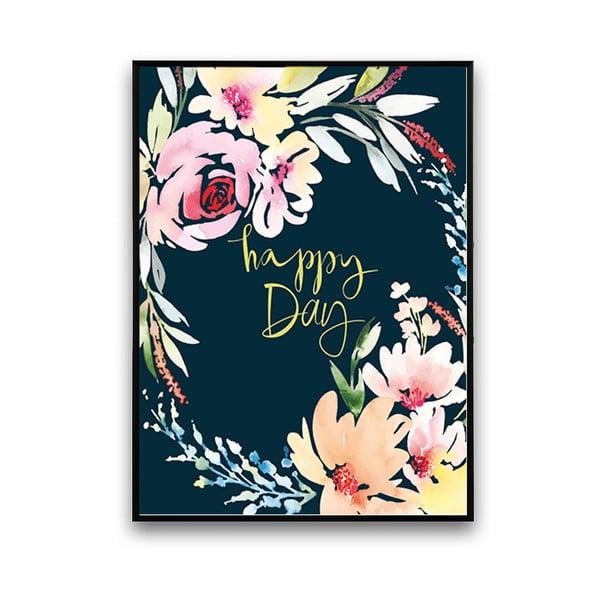 Plakat z kwiatami Happy Day, czarne tło, 30 x 40 cm