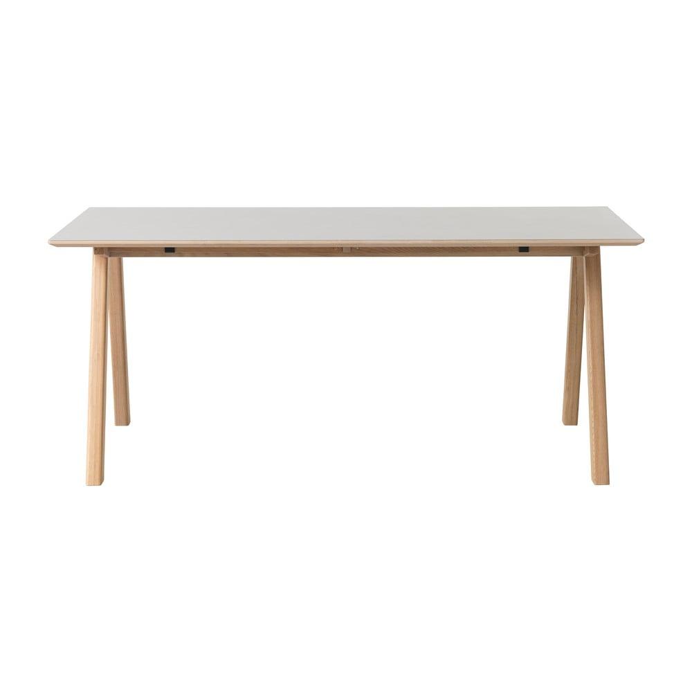 Szary stół z nogami z drewna dębowego Unique Furniture Bilbao, 180x90 cm