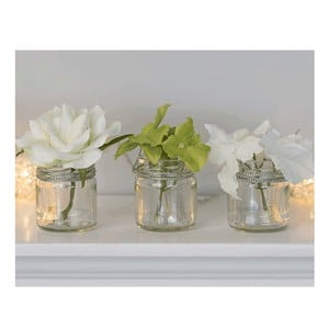 Zestaw 3 szklanych wazonów ze sztucznymi kwiatami Hydragena, 8 cm