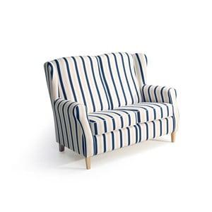 Niebiesko-biała sofa dwuoso-bowa w paski Max Winzer Lorris