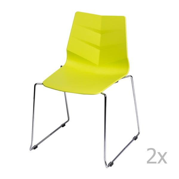 Zestaw 2 limonkowych krzeseł D2 Leaf SL