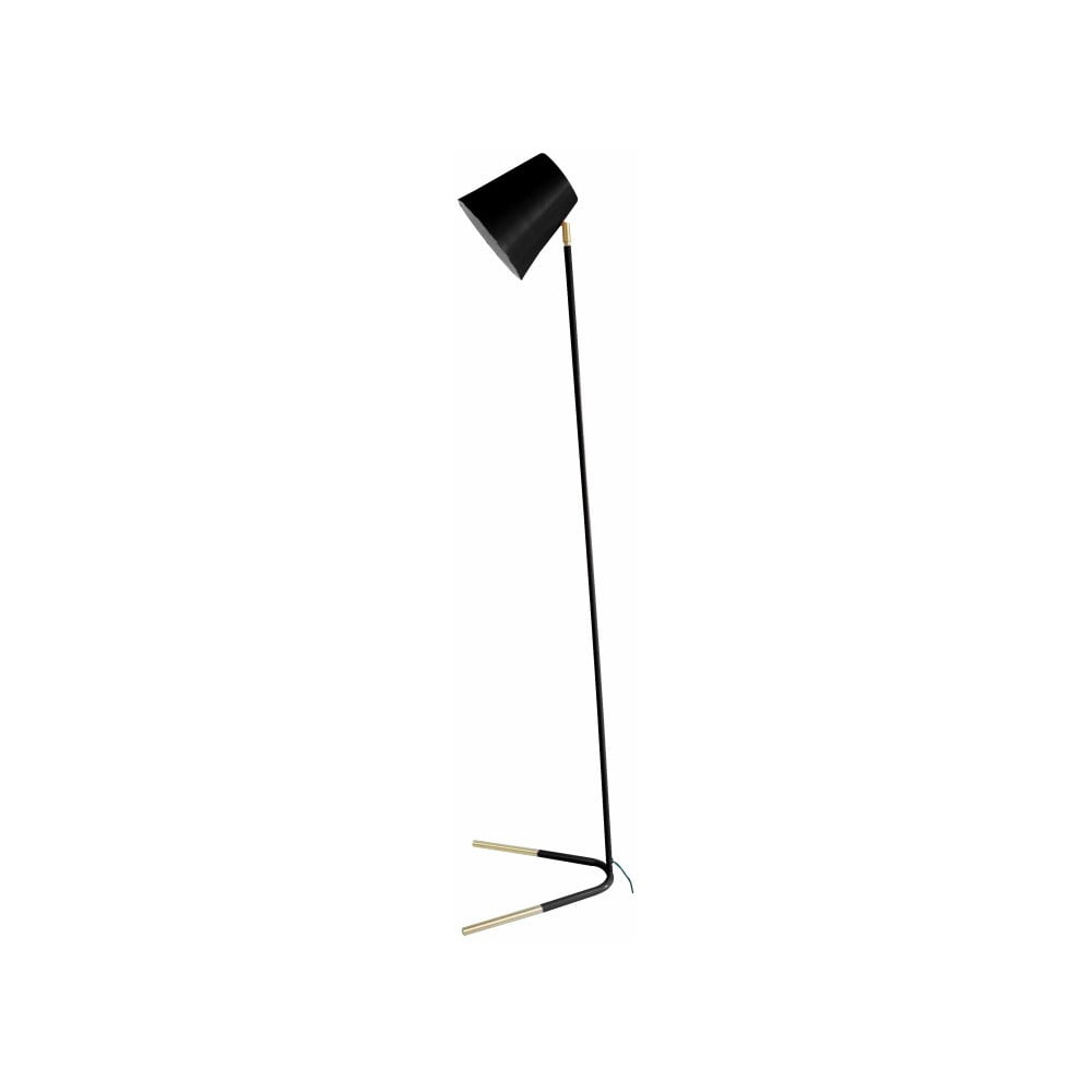 Czarna lampa stojąca z detalami w złotej barwie Leitmotiv Noble