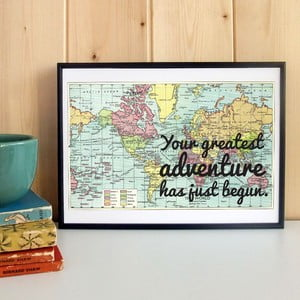 Plakat w drewnianej ramie Your Greatest Map Print