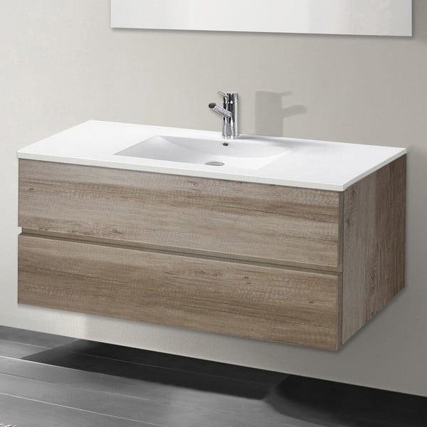 Szafka do łazienki z umywalką i lustrem Flopy, motyw dębu, 100 cm