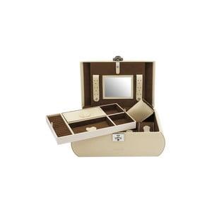 Beżowa szkatułka z wyjmowaną przegródką Friedrich Lederwaren Cordoba