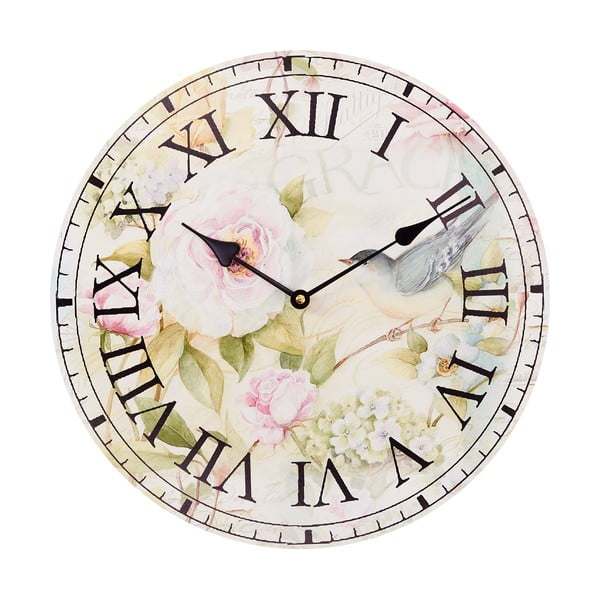 Zegar Pink Flowers, 34 cm