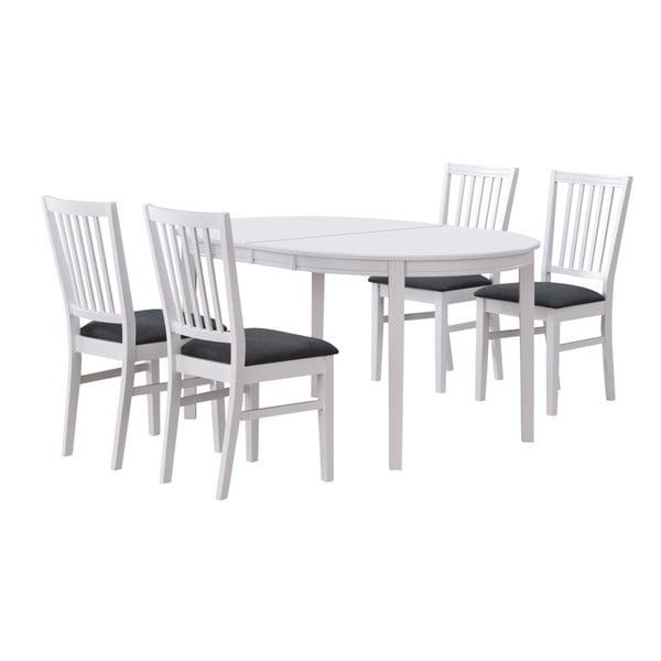 Biały rozkładany stół do jadalni z drewna dębowego Rowico Wittskar, 150x107cm