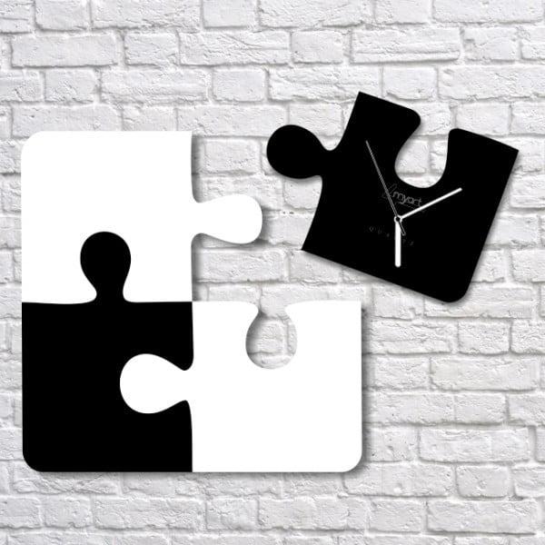Zegar ścienny Black White Puzzle