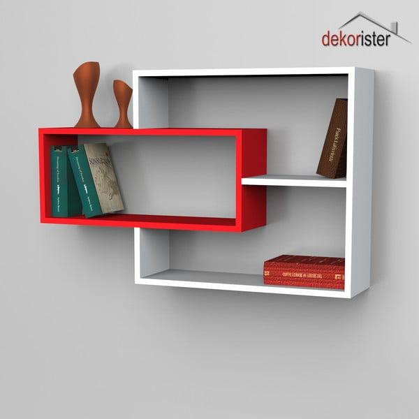 Półka Sementha Book White/Red, 22x104,1x66,2 cm