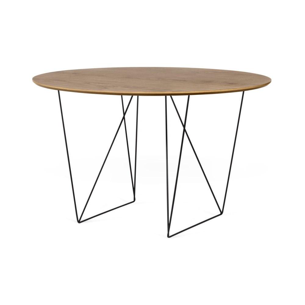 Stół w kolorze orzecha z czarnymi nogami TemaHome Row, ⌀ 120cm