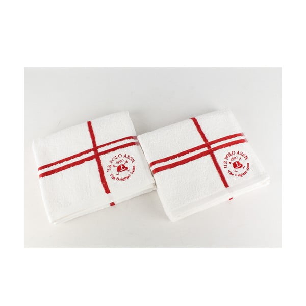 Komplet 2 ręczników Towel US Polo Hand White and Red, 50x90 cm