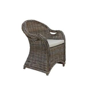Fotel z ratanu koboo z kremowym siedziskiem HSM Collection Parma