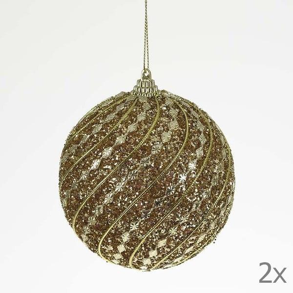 Zestaw bombek Ball Gold Glitter, 2 szt.