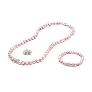 Komplet naszyjnika, kolczyków i bransoletki z pereł słodkowodnych Crystal