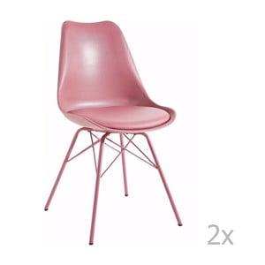 Zestaw 2 różowych krzeseł 13Casa Marianne