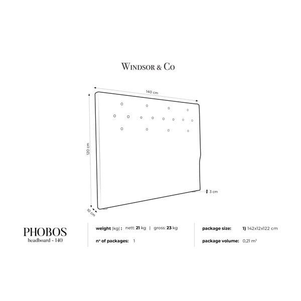 Ciemnoszary zagłówek łóżka Windsor & Co Sofas Phobos, 140x120 cm