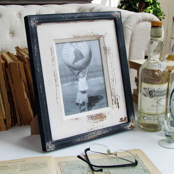 Ramka na zdjęcia Shabby Black and White Orchidea