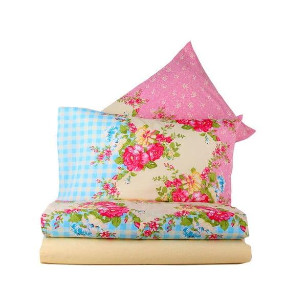 Różowa pościel z prześcieradłem na łóżko dwuosobowe Love Colors Elegant, 200 x 220 cm