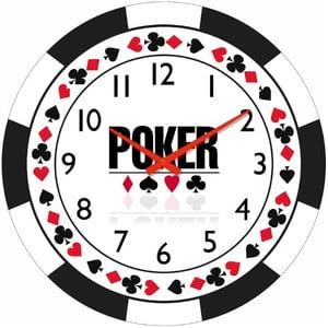 Szklany zegar Poker, 34 cm