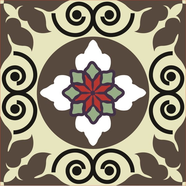 Naklejki Tile Art Brown Symbols
