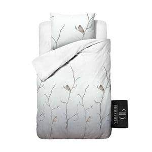 Pościel z bawełny krepowanej Dreamhouse Bird Tree White, 140x220 cm