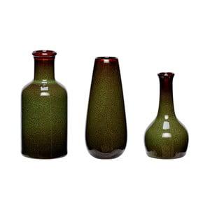 Zestaw 3 zielonych wazonów ceramicznych Hübsch Frej