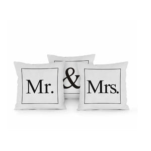 Zestaw 3 poduszek Really Nice Things Mr & Mrs, 45x45cm
