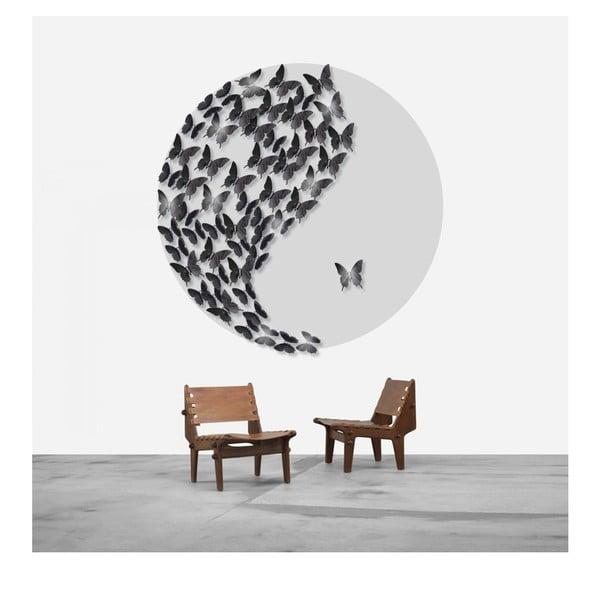 Zestaw 12 naklejek elektrostatycznych 3D Fanastick Wall Black Butterflies