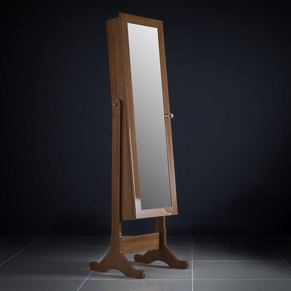Zamykane lustro stojące ze schowkiem Rebecca, brązowe