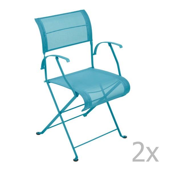 Zestaw 2 turkusowych krzeseł składanych z podłokietnikami Fermob Dune