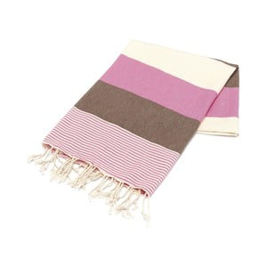 Różowo-brązowy ręcznik Hammam Amerikan, 100x180cm