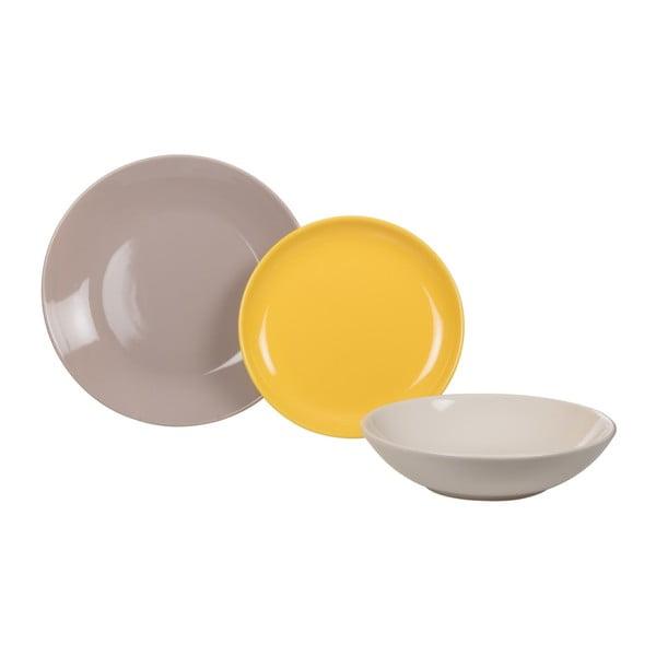 18-częściowy komplet talerzy Kaleidos, żółto-szaro-biały