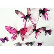Zestaw 18 różowych naklejek adhezyjnych 3D Fanastick Butterflies